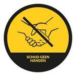 Corona COVID-19 stickers rond schud geen handen