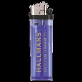 Donkerblauwe  transparante aanstekers met logo opdruk