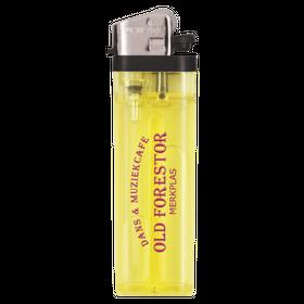 Gele transparante aanstekers met logo opdruk